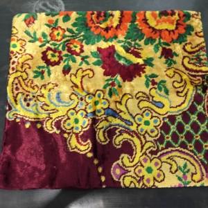 Housse de coussin en tapis turc jaune